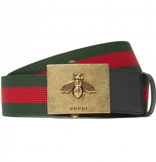Gucci Leather Trimmed 4cm Striped Canvas Belt