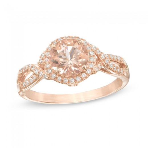 Precious Bride 7 0mm Morganite and 1 6 CT T W Diamond Frame Twist Engagemen