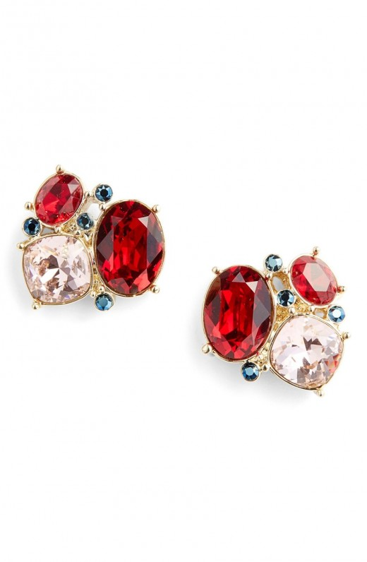 St. John Collection Swarovski Crystal Cluster Earrings