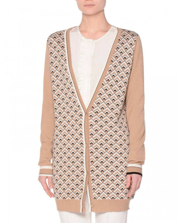 Agnona Long Sleeve Printed Front Womens Cardigan Sweater