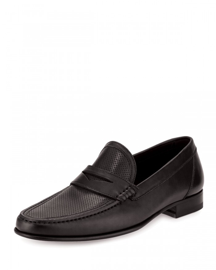 A.Testoni Perforated Black Leather Penny Loafer