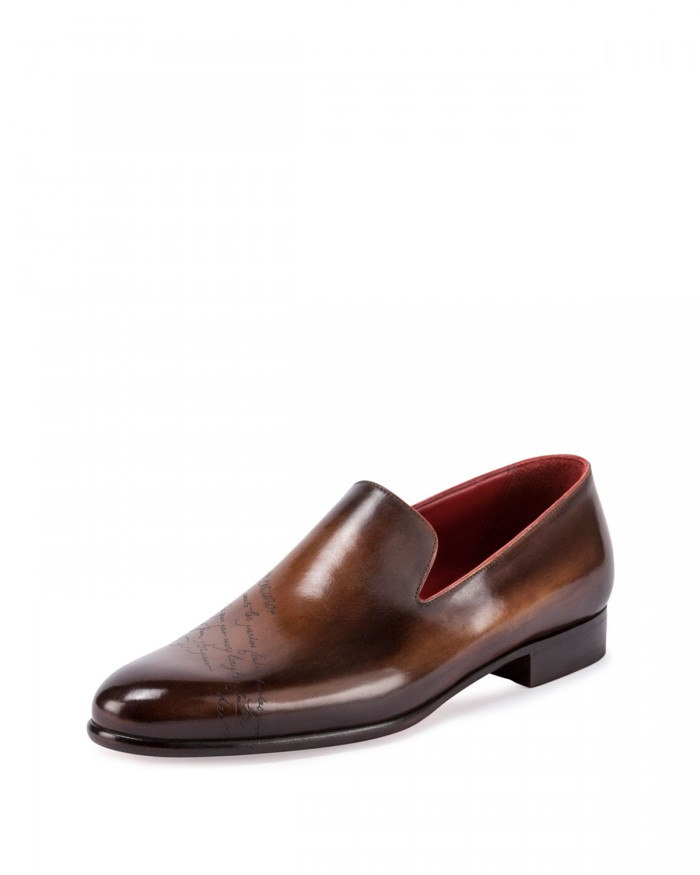berluti scritto leather slip on dress shoes malibu mart