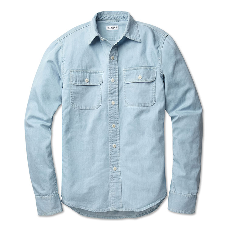 buck mason chambray mens work shirt malibu mart