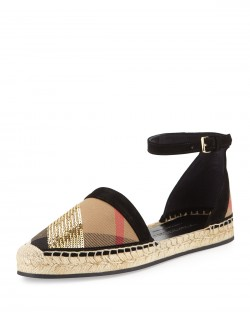 Burberry Abbingdon Sequined Check Espadrille Flat Sandal, House Check/Gold
