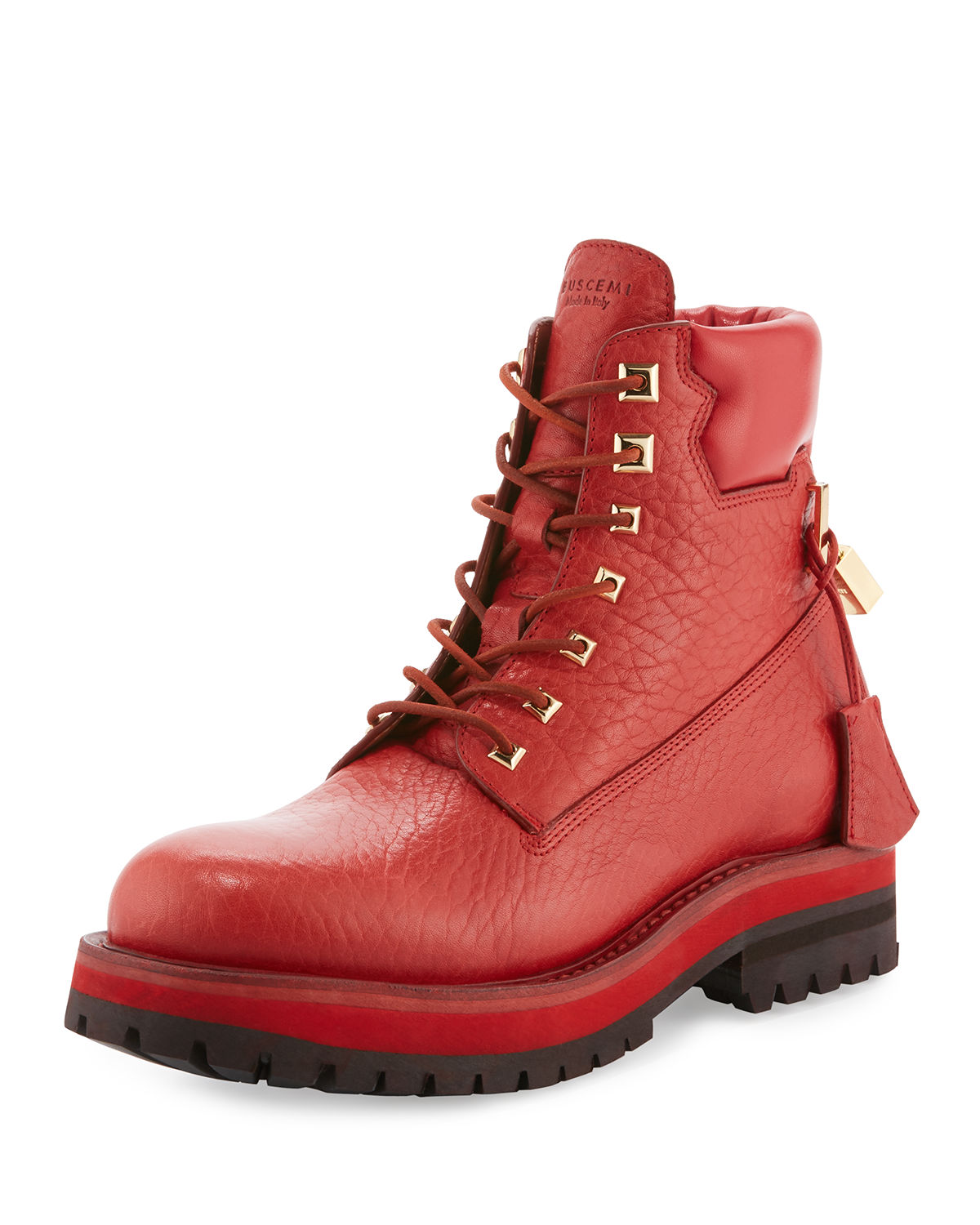 Buscemi Site Leather Lace Up Hiking Boots Malibu Mart