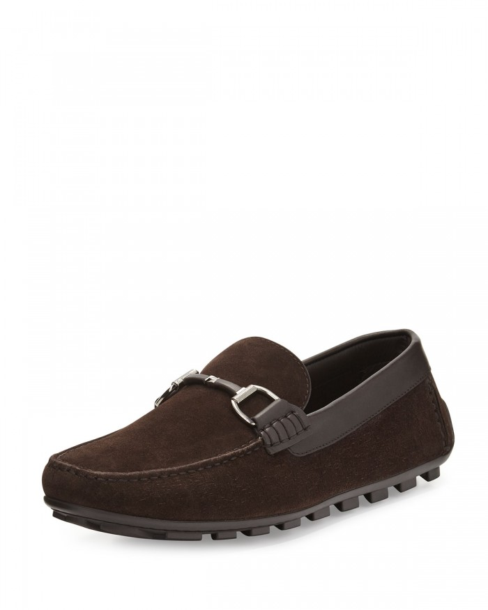 Ermenegildo Zegna Highway Brown Suede Bit-Strap Driver Shoes