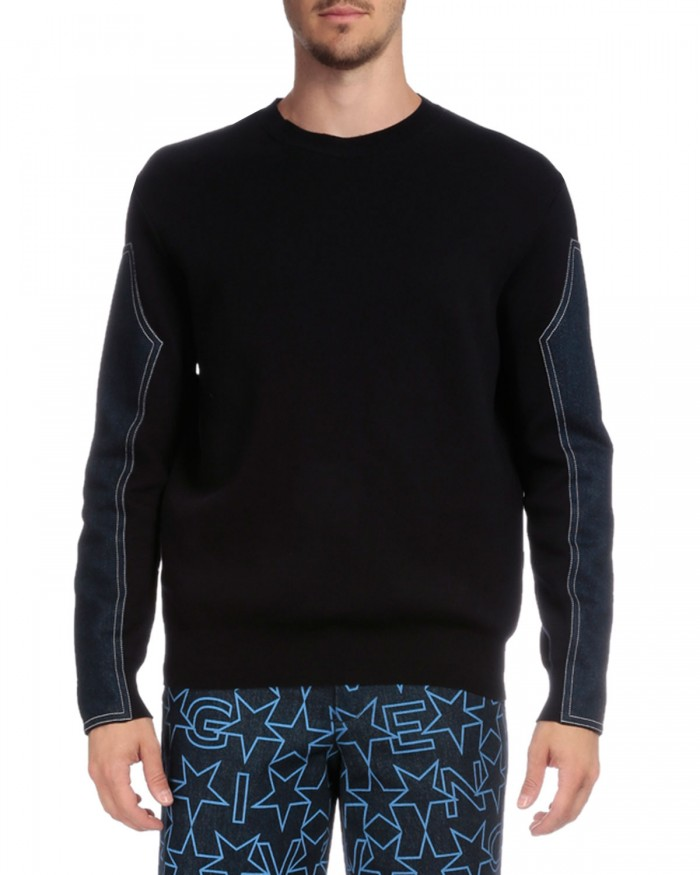 Givenchy Crewneck Sweater with Denim Sleeves