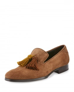 Jimmy Choo Foxley Men's Autumn Suede Tassel Loafer Shoes