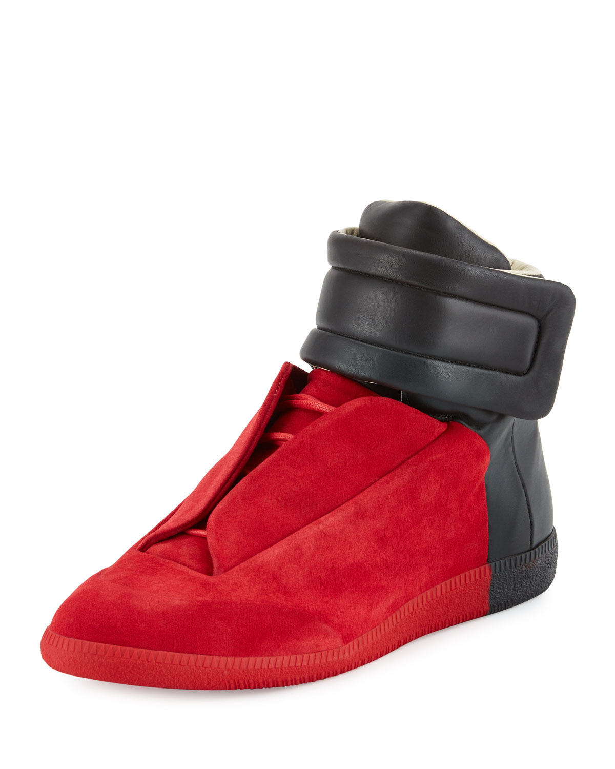 Maison Margiela Future Red Black Colorblock High-Top Sneakers : MALIBU MART