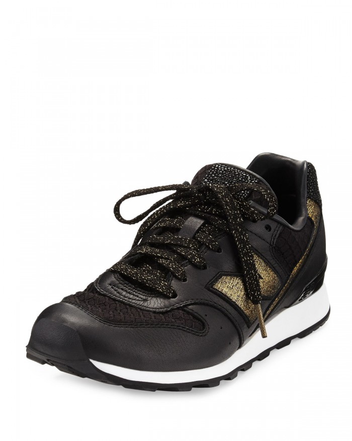 New Balance Embossed Black & Gold Leather Sneaker