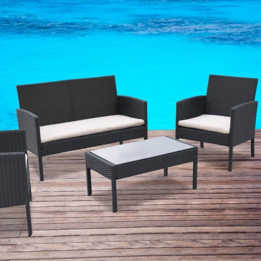 4 Piece Patio Rattan Black Wicker Beige Cushioned Seat Furniture Set
