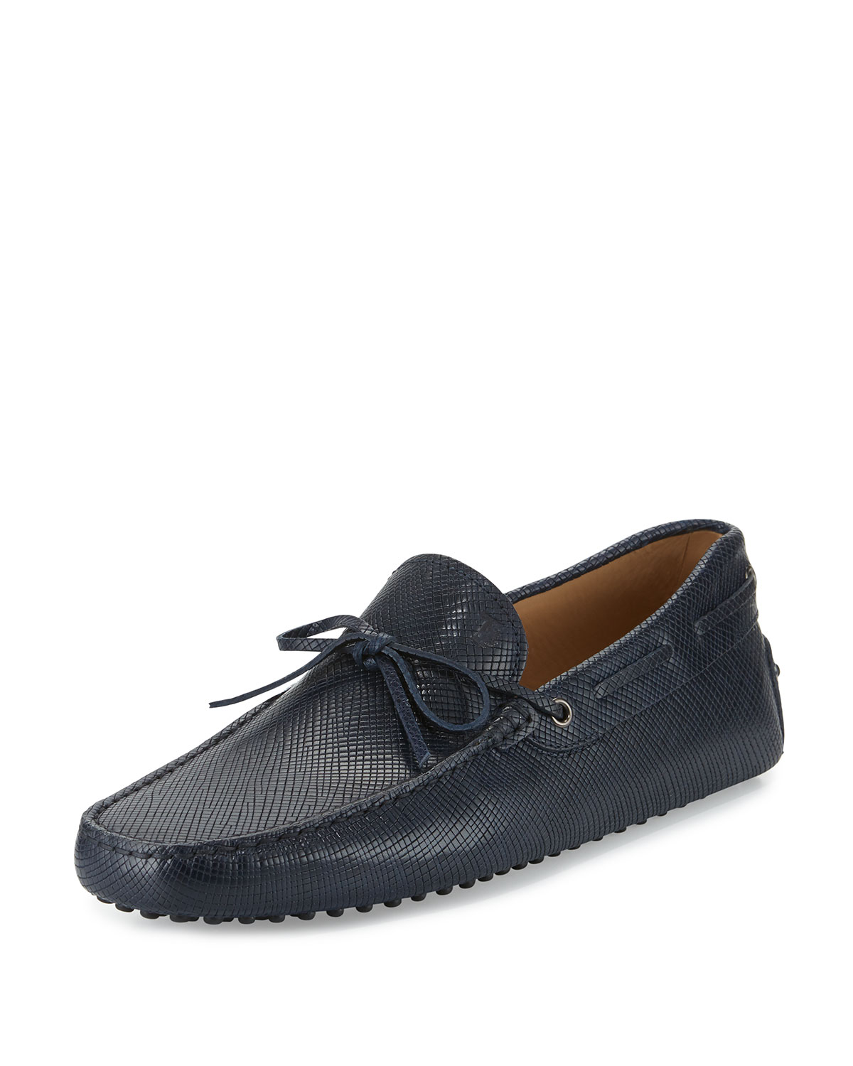 Todu2019s Gommini Textured Leather Tie Navy Driver Shoes ...