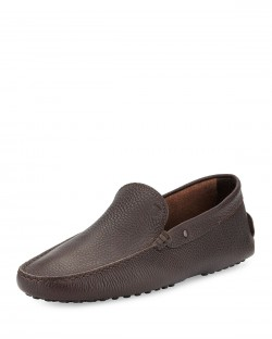 Tod's Pebbled Brown Leather Driver Shoes
