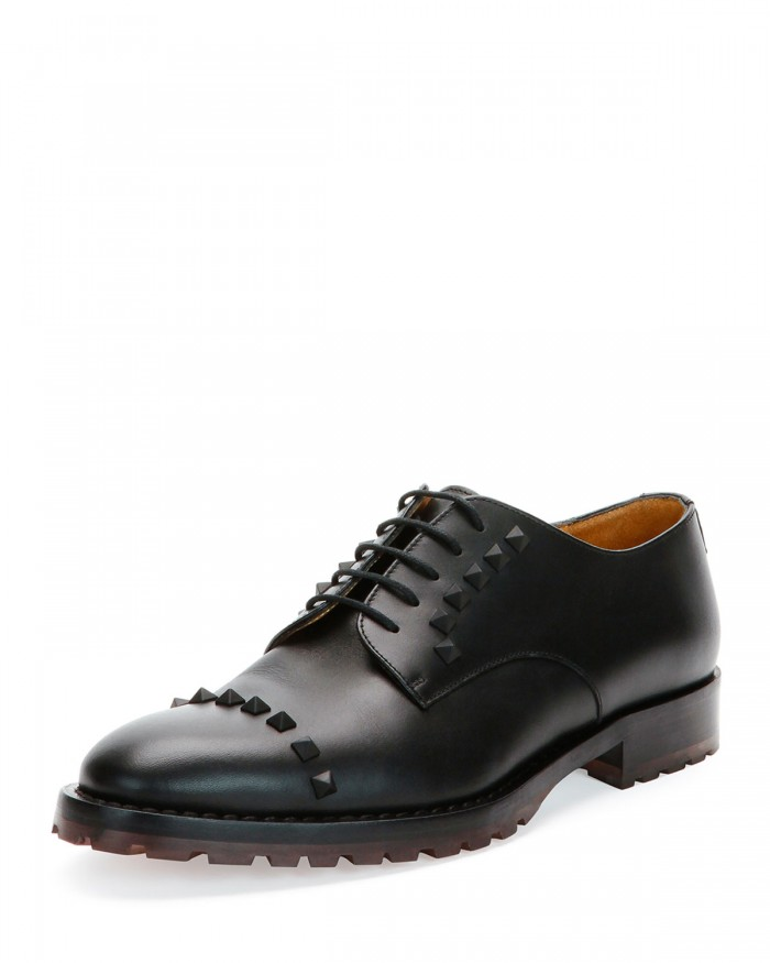 Valentino Rockstud Wing-Tip Black Derby Shoes