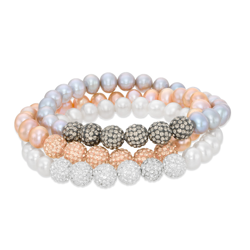 Peach, Grey and White Cultured Freshwater Pearl Stretch Bracelet Set