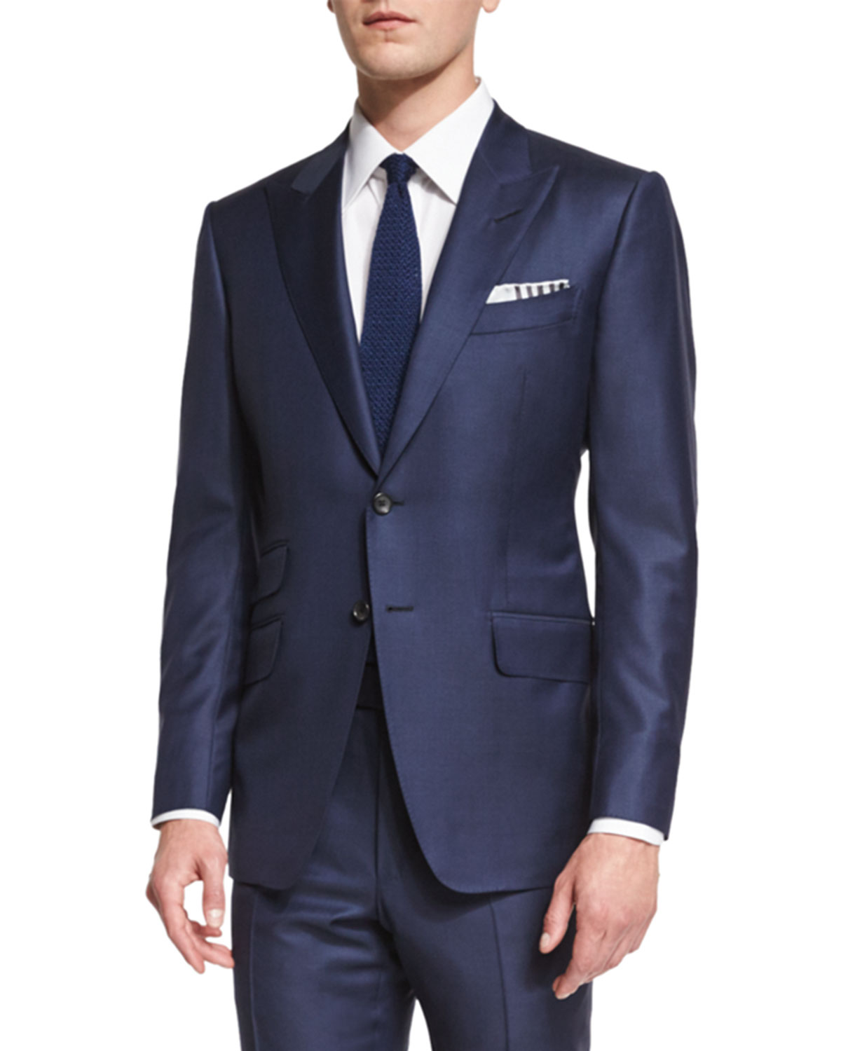 Tom Ford O Connor Base Navy Sharkskin Two Piece Suit Malibu Mart