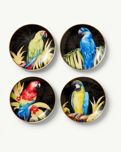 Tommy Bahama Tropical Macaw 7-Inch Porcelain Set of 4 Dessert Plates