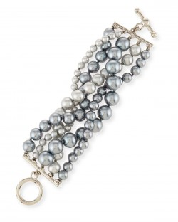 Kenneth Jay Lane Pearly Five-Row Gray Bracelet