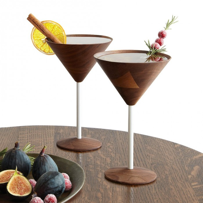 Wooden Handcrafted Martini Glasses Set of 2