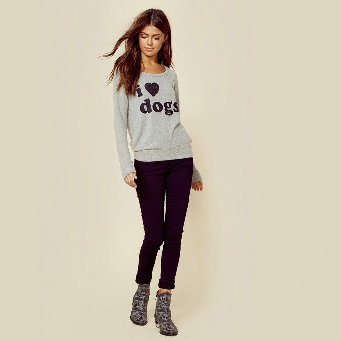 I Love Dogs Knit Raglan Top by Chaser