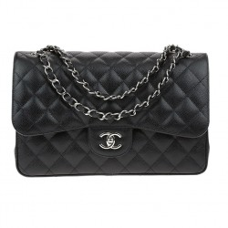 Chanel Black Caviar Leather Jumbo Double Flap Handbag
