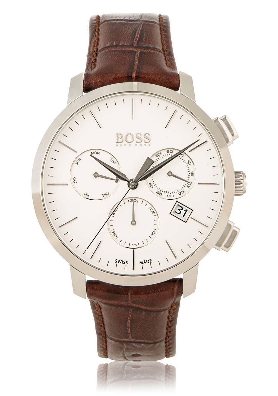 Hugo Boss Chronograph Italian Leather Swiss Quartz Watch : MALIBU MART