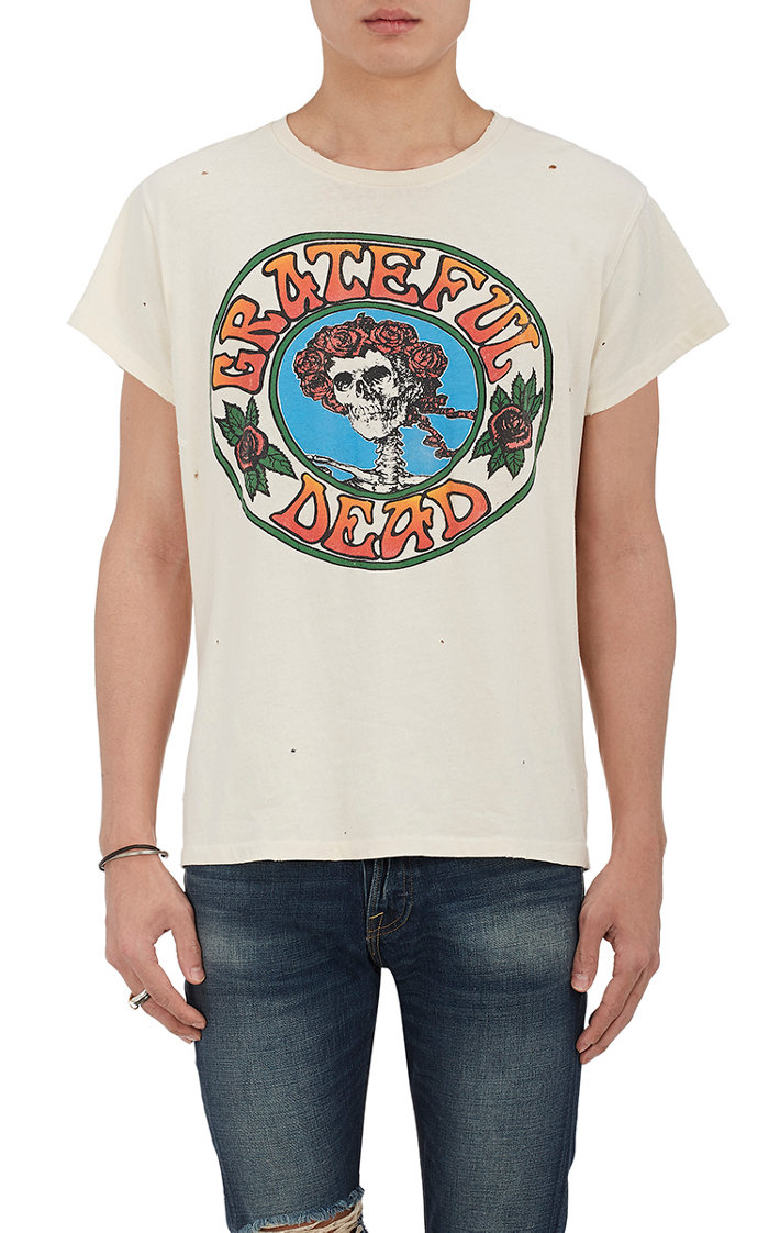 """Grateful Dead"" Distressed Cotton T-Shirt by Madeworn"