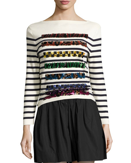 Marc Jacobs Sequined Striped Long-Sleeve Sweater