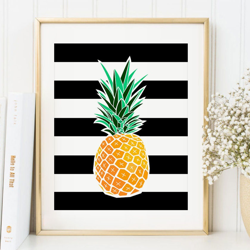 Pineapple Art Print Tropical Wall Decor Malibu Mart