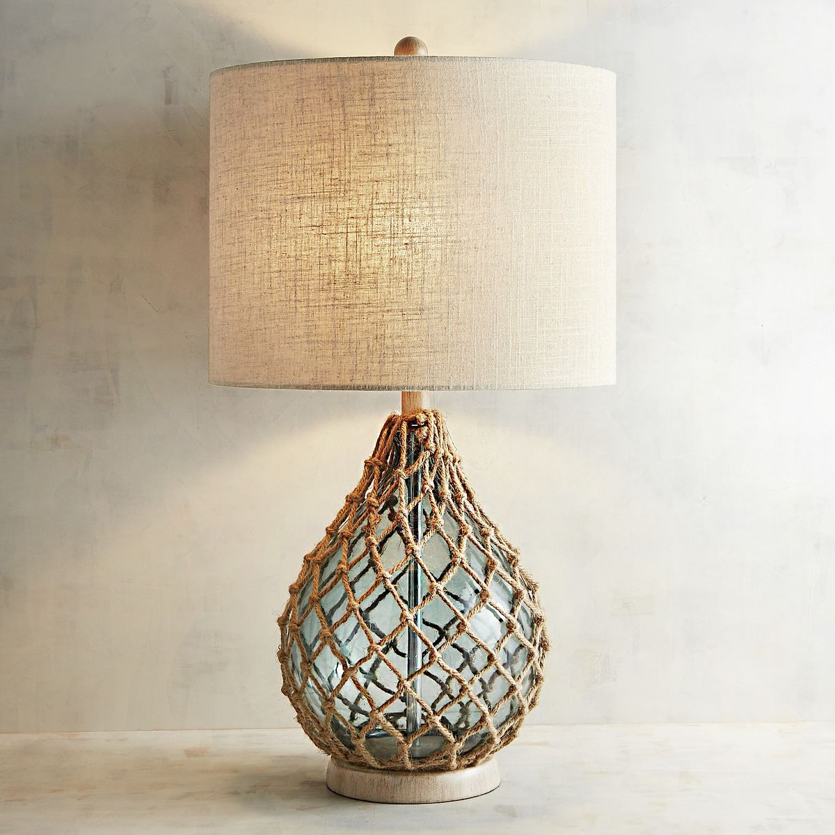 Sea Lamps: Rope And Sea Glass Table Lamp