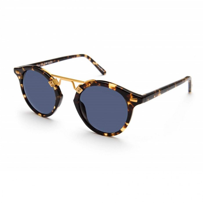 KREWE St. Louis Polarized Bengal Blue Mens Round Sunglasses