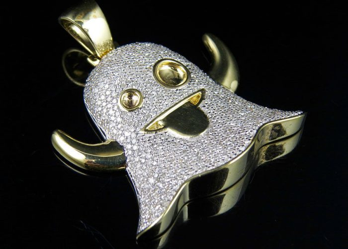 10K Yellow Gold Snapchat Ghost Emoji Iced Out Genuine Diamond Custom Pendant 2ct