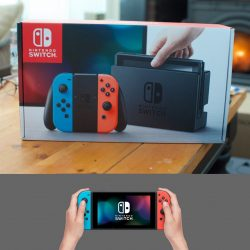 Nintendo Switch 32GB Video Game Console with Neon Red & Blue Joy Controller