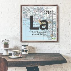 Los Angeles California Vintage LA Periodic Map Art Print