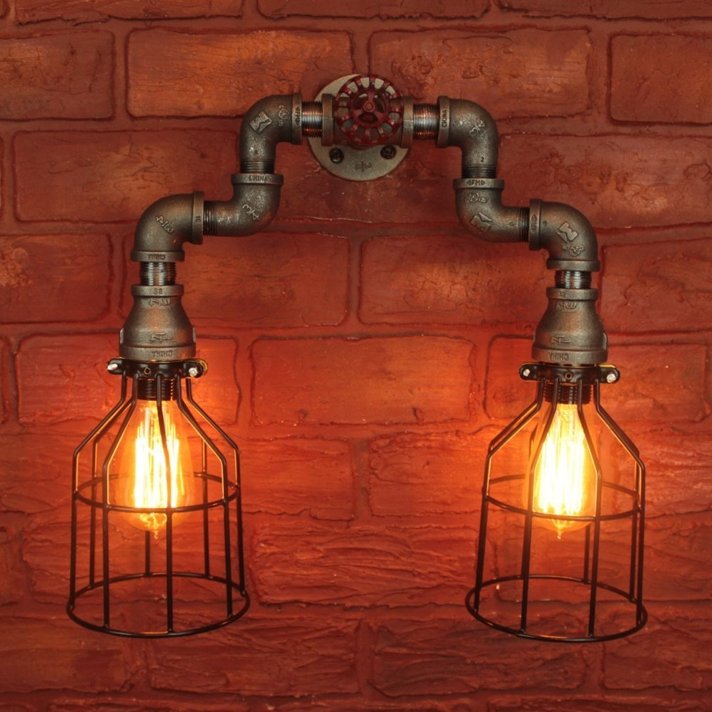 Industrial Steampunk Edison Light bulbs w/ Cages Wall Sconce Bathroom Vanity Light Fixture