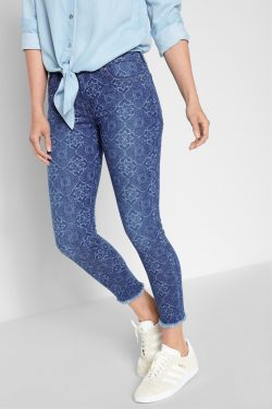 Ankle Skinny with Raw Hem in Mirage Mosaic Tile Womens Jeans by 7 For All Mankind