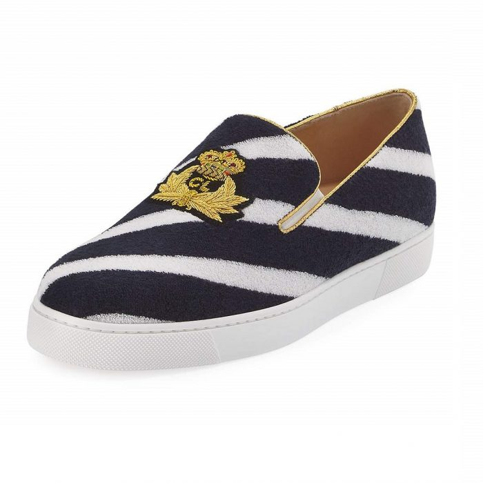 Christian Louboutin Boat Spa Flat Navy Blue Striped Red Sole Womens Slip-On Sneakers
