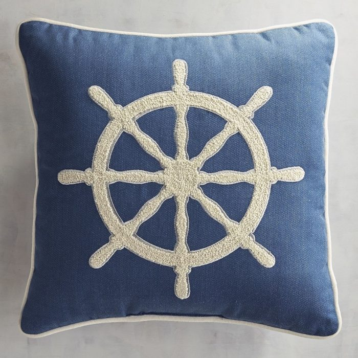 Nautically Inspired Embroidered Ship's Wheel Pillow