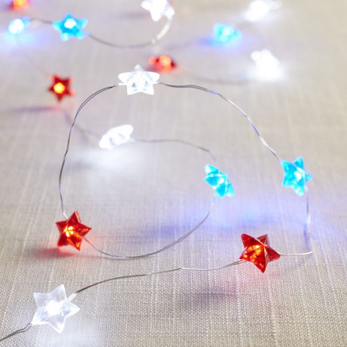 Red, White and Blue Star Lights 10′ Glimmer Strings