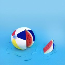 Splash Beach Ball Watermelon 12 x 12 Wall Art Print