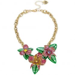 Betsey Johnson Gold-Tone Multi-Stone Flower & Leaf Statement Necklace