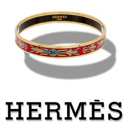 Hermes Printed Enamel Narrow Bangle Bracelet