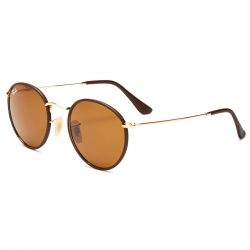 Ray-Ban Leather-Wrapped Round Sunglasses