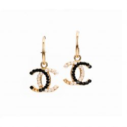 Chanel Pre-Owned Black And White Rhinestone CC Drop Earrings