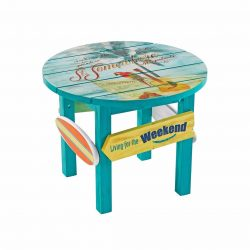 Margaritaville Outdoor Classic Wood 24″ x 19″ H Round Side Table