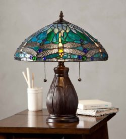 Plow & Hearth Allendale Dragonfly Tiffany Stained Glass 16.5″ Table Lamp