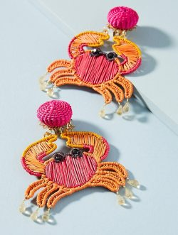 Woven Crab Drop Earrings