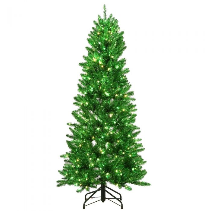 6 ft. Pre-Lit Shiny Green Fraser with Warm White and Green Color-Changing LED Lights Artificial  ...