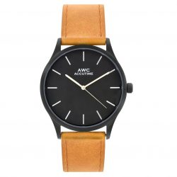 ACCUTIME Mark 42mm Leather Strap Watch