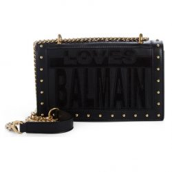 BALMAIN Love Logo Leather Shoulder Bag